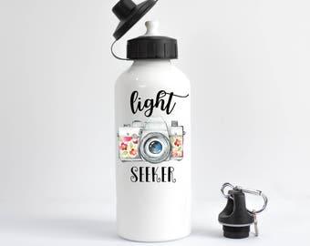 Photographer Water Bottle, Photographer Gift, Photography Gift, Light Seeker, Camera WaterBottle, Photography Water Bottle, Photog Present