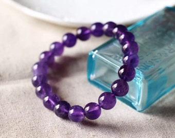Natural Amethyst Quartz Crystal Round Beads Stretch Bracelet -8mm/ 紫晶手鏈