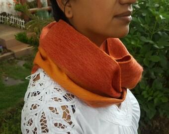 Alpaca Infinity Scarf Orange Stripes