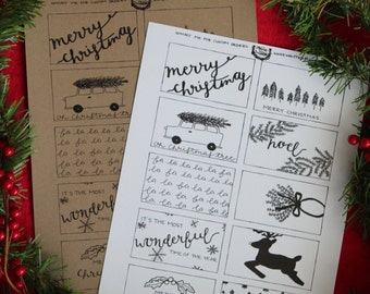 Christmas Gift Tags Printable Handwritten Color Yourself - 10 Count