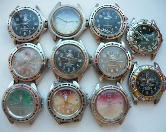 Counterfeit! vostok wrist watch = steampunk supplies / Komandirskie rifleman / tank / u-boat / Mechanical / China / Soviet Union /amphibian