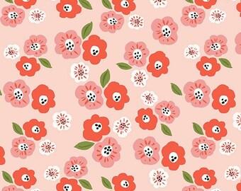 Organic Cotton Fabric- Flower,Floral,Pink-Monaluna Fabrics -by the yard - Baby girl,Nursery ,Bedding-Kids Room Decor