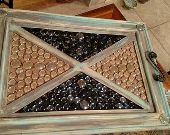 Wooden serving tray made from cabinet door.....recycled decor