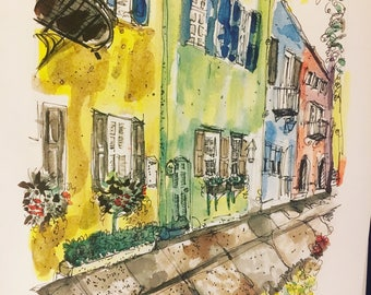 "Large 8.5"" x 11"" Rainbow Row Charleston South Carolina art print from original watercolor beautiful linen paper"