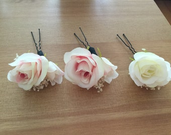 Artificial flower hairpins, Wedding Hairpins, Hair Assessories, pink and white