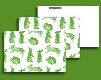 Three (3) Green Rabbit 4x6 Postcards - Rabbitgrams are perfect for any occasion!