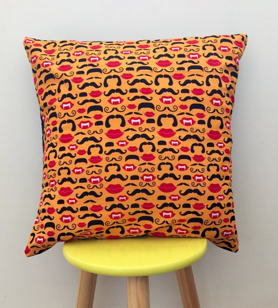 Moustaches, lips, smiling happy vampires cushion cover 45cm x 45cm