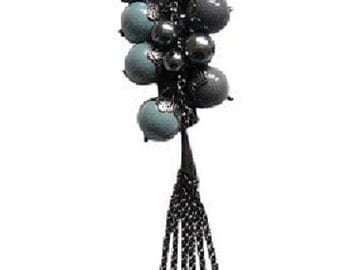 Very Long Cluster Lariat Necklace Blue Silver Grey Black