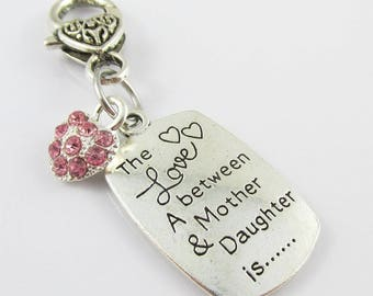 Love Between Mother & Daughter Clip on Charm for Bag or Zipper Pull Pick Colour