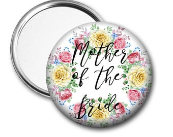 Yellow Rose Mother of the Bride 58 mm 2.5 inch Pocket Mirror