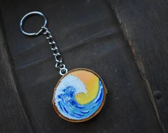 Make Waves Wood Burned Hand Lettered Hand Painted Keychain