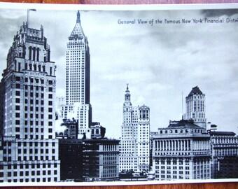 New York FINANCIAL DISTRICT, New York City, Postally Unused Real Photo Postcard Near MINT