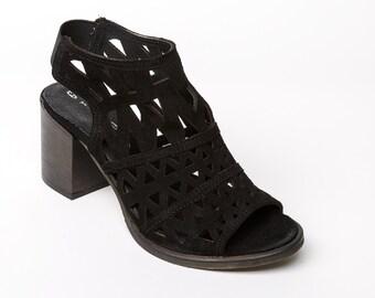 Women's sandals black suede, women's suede heels black, black suede high heel sandals, womens leather handmade shoes black, laser cut deco