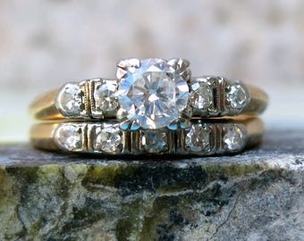 Vintage Engagement Ring, Art Deco Diamond Ring, Vintage Wedding Ring Set, Bridal Set