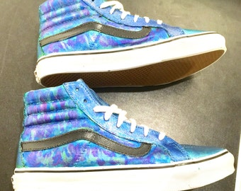 Custom Hand Painted Vans Shoes Blue Green Metallic Paint