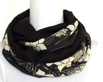 Top Quality Fabric - Reversible Snood Scarf - Black and white