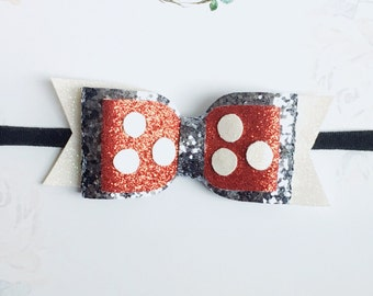 Micky Mouse Bow - Glitter Bow