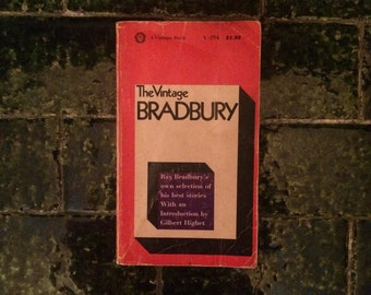 SOLD - Vintage book rare 1st ed The Vintage Bradbury, Ray Bradbury's own selection of his best sci-fi stories, 1965, intro by Gilbert Highet