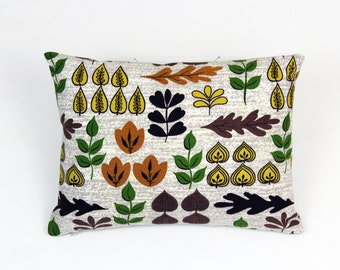 Decorative pillow crafted from Fall Leaves vintage barkcloth and linen.