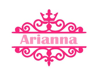 PERSONALIZED TIARA FRAME; Quality Vinyl Decal; Yeti Decals, Car Decals, Gifts for princesses, Princess gifts!