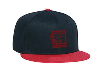 Kuwait Postal Stamp Cap - Blk/Red with Red Embroidery