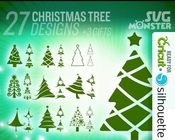 CHRISTMAS TREE Svg SPLIT monogram Cut Files for Electronic