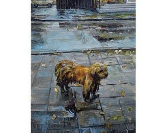 Custom homeless dog portrait Original oil painting Homelles portrait Dog portrait Dog art artist Olga Lutsenko