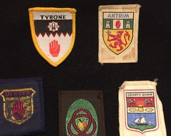 5 Vintage Northern Ireland Patches Tyrone Antrim Ulster Armagh Down