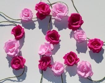 Flower garland, pink roses, paper flowers, party decor, wedding bunting, flower decor, birthday garland, pink flags, Wedding decoration
