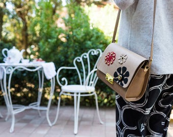 Beige Flowers minibag-purse leather shoulder bag crafted, customizable