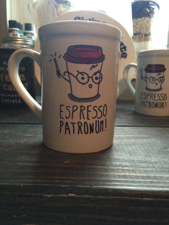 Harry Potter, Harry Potter Hand Painted Mug, Harry Potter Gift, Harry Potter Birthday, Harry Potter Gift Ideas, Espresso Patronum, Gift