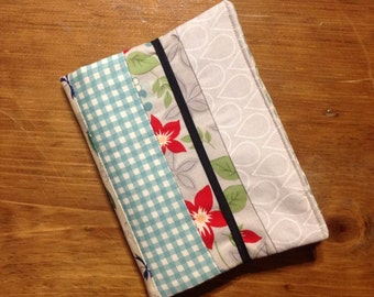 Fabric Ereader cover, Kindle paperwhite cover, soft cover, 6 inch e-reader cover