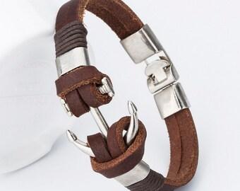 Brown leather bracelet, Anchor charm bracelet, Bangle bracelet, Cheap jewelry, Cheap bracelet, Mens womens bracelet, Simple elegant bracelet