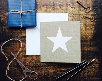 Blank card//Star on linen card, art card, birthday card, occasion card, frameable print, white star, thank you card,