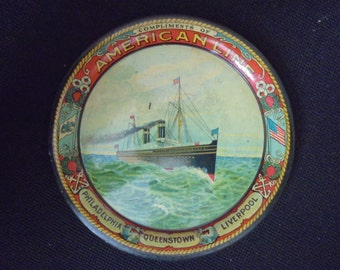Antique American Line steamer ship tip tray
