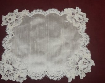 pure silk and French lace doily, decorating, gift idea