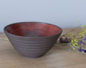 natural clay Bowl and Red enamel