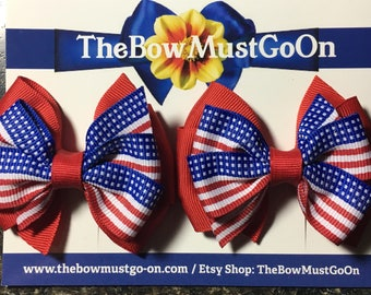 4th of July Bow set/4th of July Hair Bows/4th of July Hair bow/Red white and blue hair bow/red white and blue bows/summer bows/small bow set