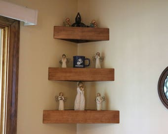 Set of three decorator wood corner wall shelves with plain face