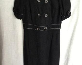 Vintage 1980's Black Linen Dress Coat - UK Size 12