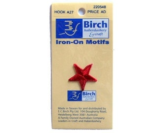 Birch Decorative Iron-On Red Star Motifs