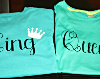 King and Queen Shirts/King/Queen/Disney Shirts/Personalized shirts/Crown shirts/Crown