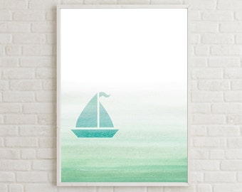 Sailboat Room Decor, Boy Nursery Ideas, Nautical Nursery Art, Sailboat Wall Print, Sailboat Art, Beach Watercolor Art, Nautical Baby Shower