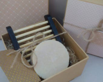 Organic 100% Natural Olive and Hempseed Soap & Dish Gift Set . Vegan. Palm and SL Free. No Fragrance or Colorants.