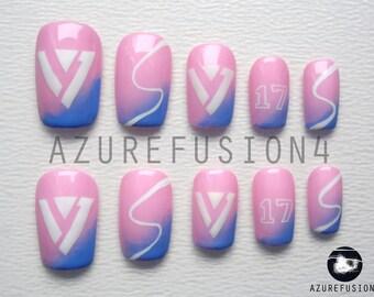 KPOP - 17 Seventeen Logo, Fandom Colour (Rose Quartz and Serenity) False Nails