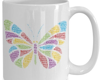Beautiful Butterfly Symbolizes Freedom, Change, and Growth! 15 oz White Coffee Cup / Tea Cup  is a perfect graduation or birthday gift!
