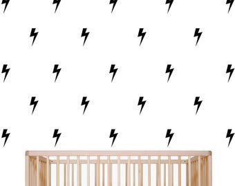 Lightning Bolt Wall Decal, Nursery Wall Decor, Kids Room Wall Decor, Set of 40 Self Adhesive Vinyl Wall Decals, Available in 15 Colors