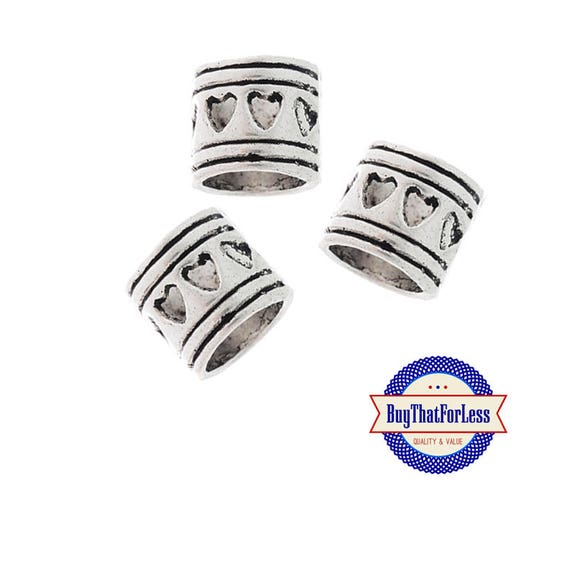 Heart Spacer BEADS, Silver Alloy, 8 pcs **FREE Shipping with orders 10 dollars+ **