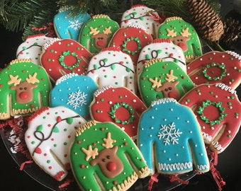 1 Dozen Ugly Sweater Assortment Sugar Cookies