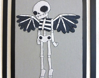 Gothic Steampunk Embroidered Winged Skeleton on Ornate  Black Metal  Frame